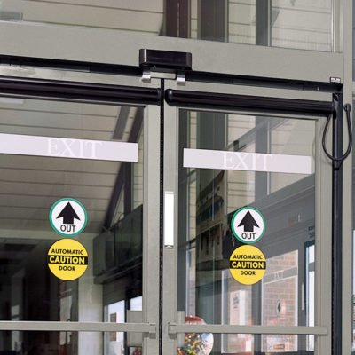 Commercial locks on an automatic door